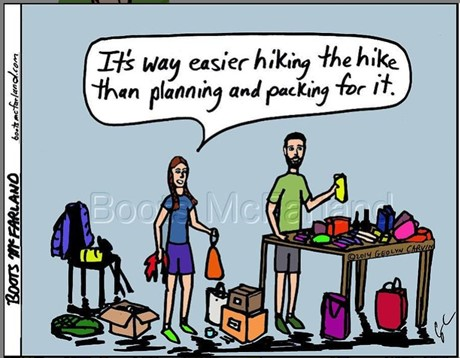 Comic Image of two people packing before a hiking trip