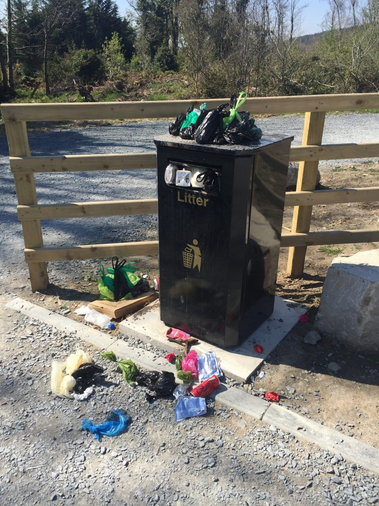 Bin overflowing with bags of poo at park.