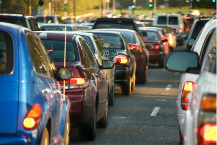 Traffic jam with standstill cars